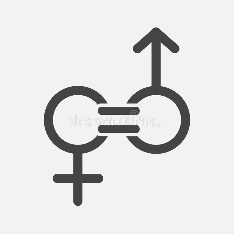 Gender equality vector icon. Sign of a man and woman are equal royalty free illustration