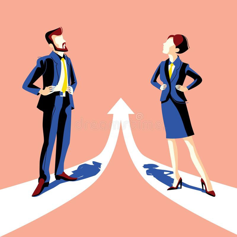 Gender equality. Vector illustration in flat style royalty free illustration