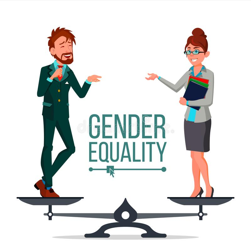 Gender Equality Vector. Man And Woman. Standing On Scales. Equal Rights. Isolated Flat Cartoon Illustration stock illustration