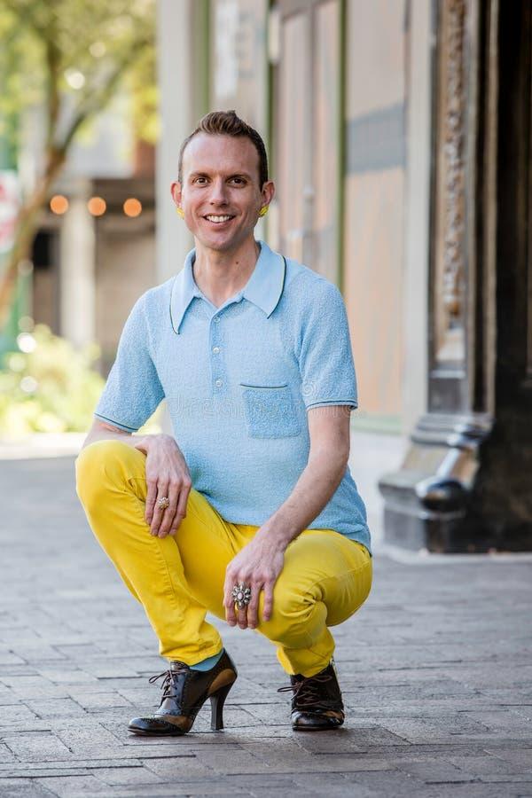 Gender Fluid Man with High Heels stock photos