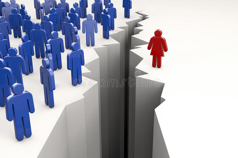 Gender Gap. With men on one side of abyss and woman on the other stock illustration
