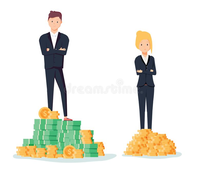 Gender gap and inequality in salary, pay vector concept. Businessman and businesswoman on piles of coins. Symbol of discrimination difference and injustice royalty free illustration