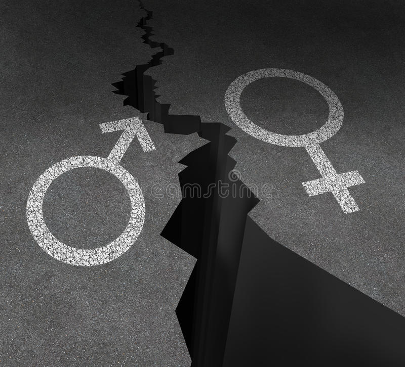 Gender Gap. And sex inequality concept as a male and female symbol painted on an asphalt road that is cracked in two as a metaphor for pay or wages inequity or royalty free illustration