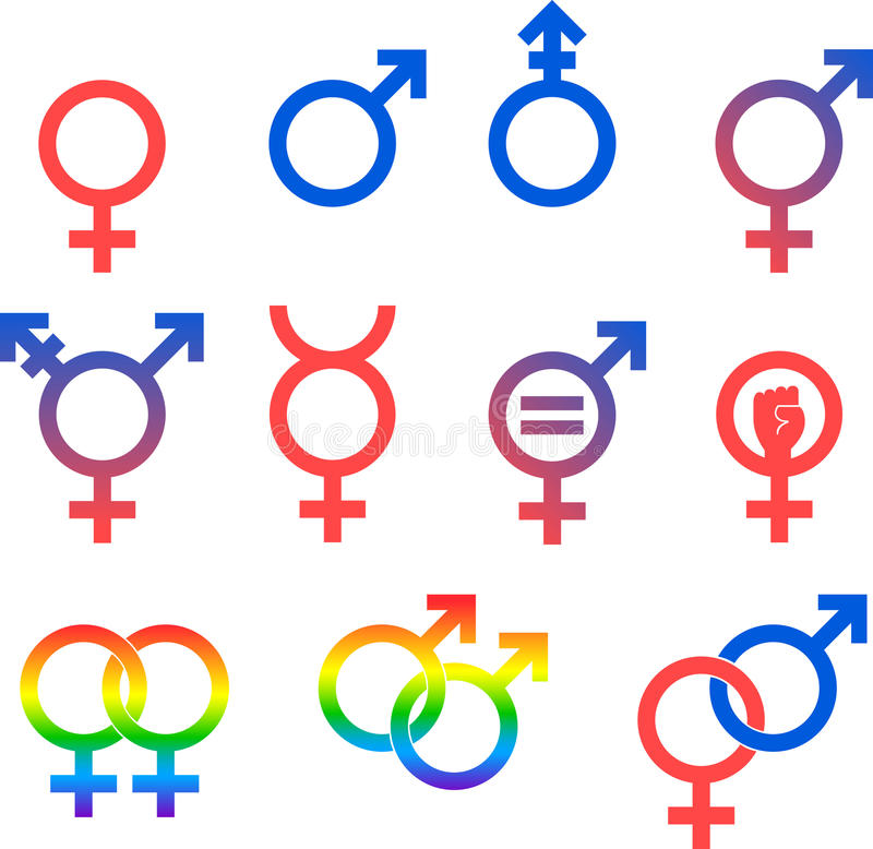 Gender Icon Set. Vector graphic icons representing the universal symbols for gender and sexuality vector illustration