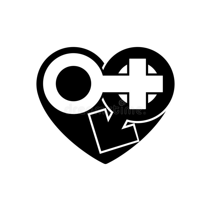 Gender icons in black heart. A symbol of love. Valentines Day. Flat style for graphic design, logo. Happy love. Vector Sign male. And female sign. Symbol sexual stock photography