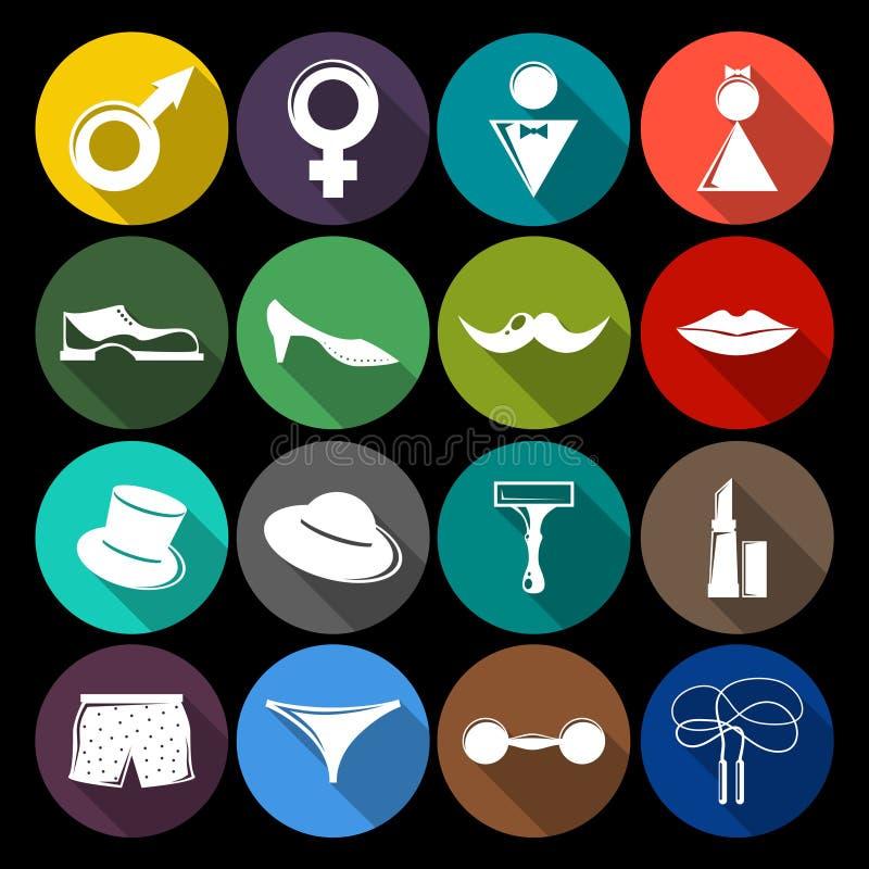 Gender icons set flat stock illustration