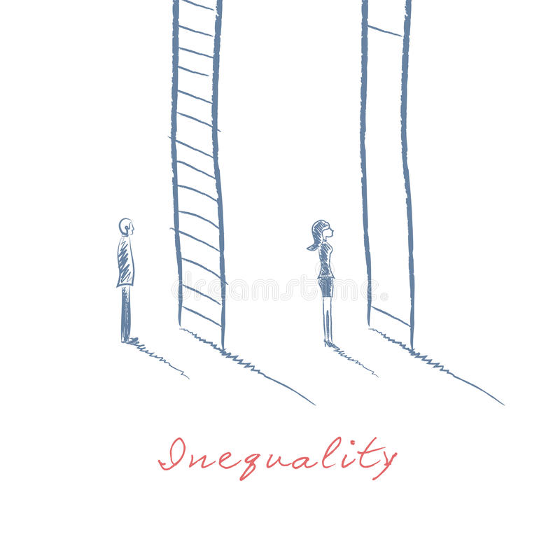 Gender issues in business concept with businessman and businesswoman standing in front of career corporate ladder vector illustration