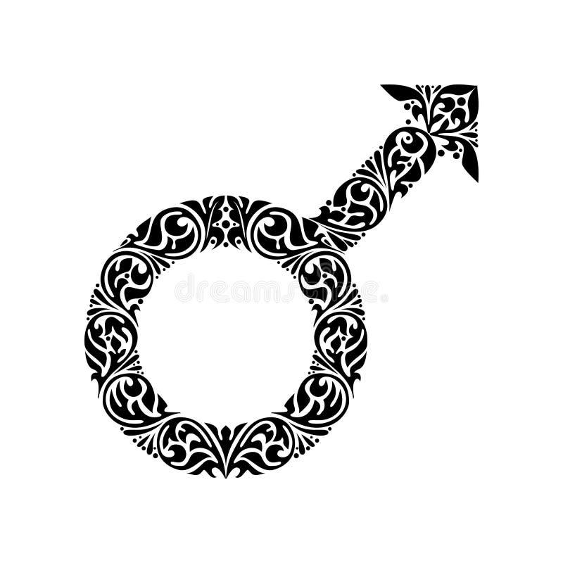 Gender male ornate symbol. Hand drawn male sign with floral ornaent. Gender male ornate symbol. Hand drawn masculine symbol. Male icon in black colors. Tattoo vector illustration