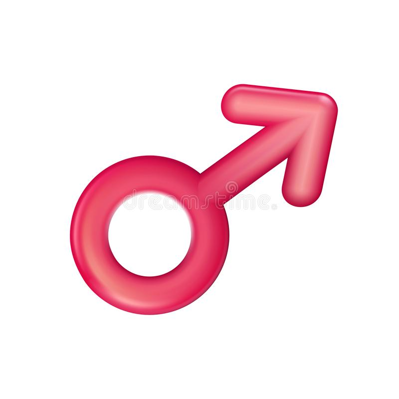 Gender male sign red icon, plastic realistic illustration. Men sex symbol . Toy, sign 3d. Vector sexual affiliation. Happy. Love sign made in 3d modern style vector illustration