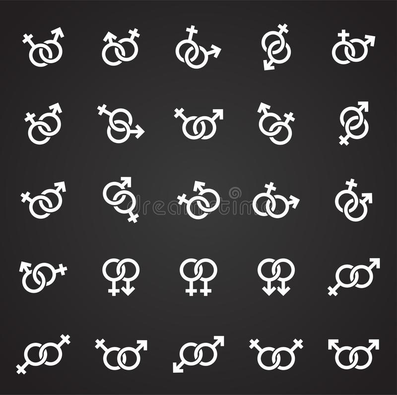 Gender relations icons set on black background for graphic and web design. Simple vector sign. Internet concept symbol. For website button or mobile app stock illustration