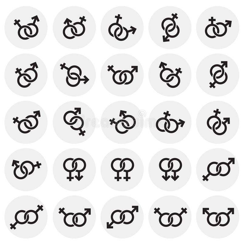 Gender relations icons set on circles background for graphic and web design. Simple vector sign. Internet concept symbol. For website button or mobile app stock illustration