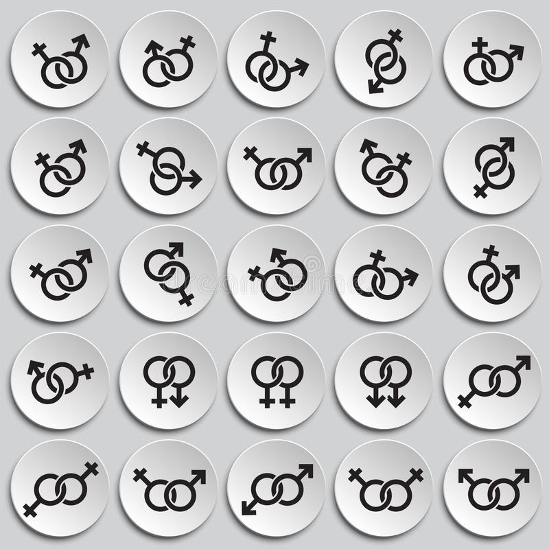 Gender relations icons set on plates background for graphic and web design. Simple vector sign. Internet concept symbol. For website button or mobile app vector illustration