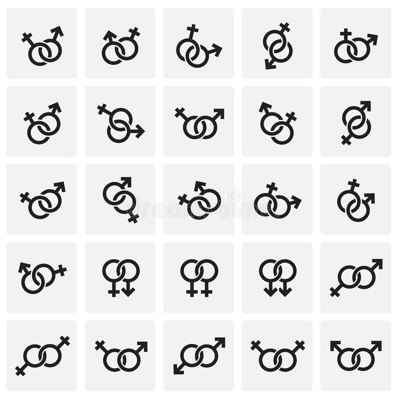 Gender relations icons set on squres background for graphic and web design. Simple vector sign. Internet concept symbol. For website button or mobile app stock illustration