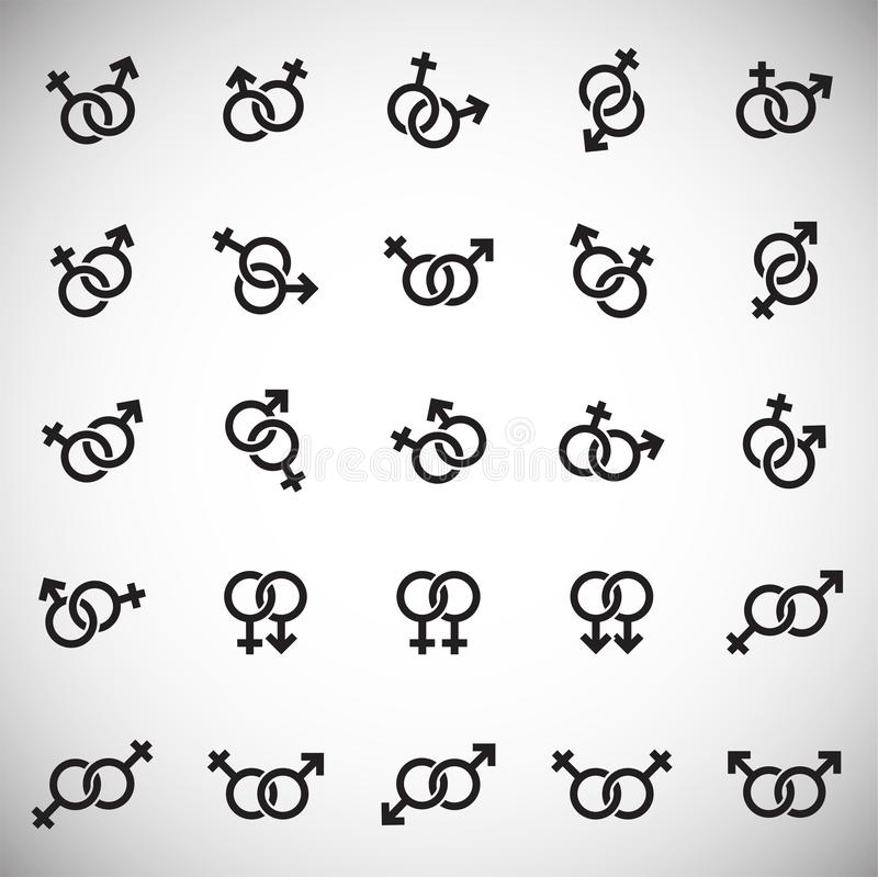Gender relations icons set on white background for graphic and web design. Simple vector sign. Internet concept symbol. For website button or mobile app stock illustration