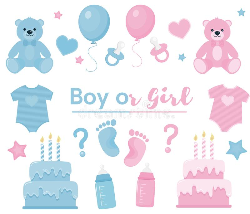 Gender reveal clipart. Blue and pink colors royalty free illustration