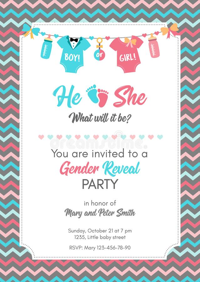 Gender reveal invitation template, baby shower party. stock illustration