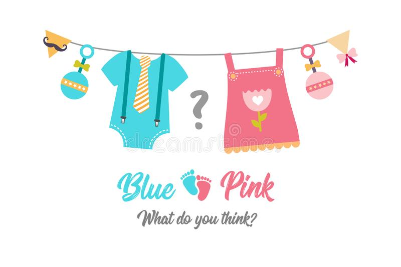 Gender reveal party, baby shower, boy or girl stock illustration