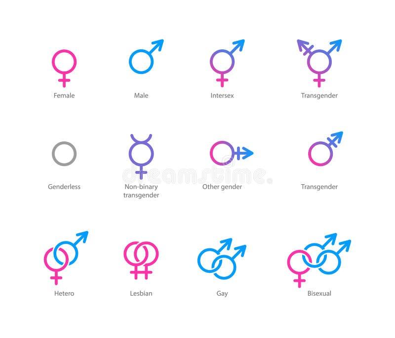 Gender symbol icon set royalty free illustration