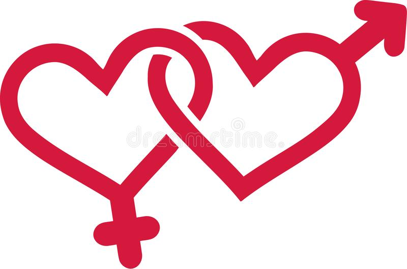 Gender symbols with hearts stock illustration
