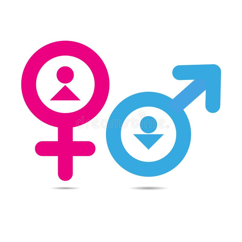 Gender symbols vector illustration on white background. Vector gender symbols with heads of man and woman sex icon pink and blue isolated on white background royalty free illustration