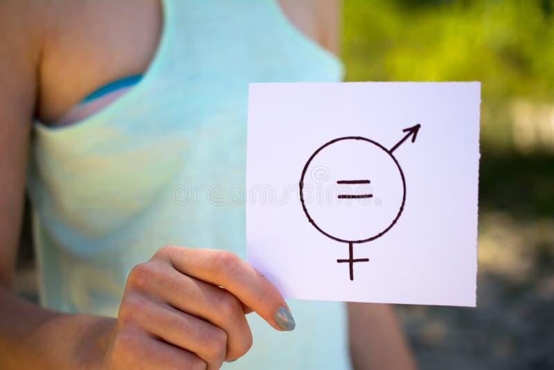 Gendergelijkheid vrouwelijk en mannelijk symbool stock fotografie