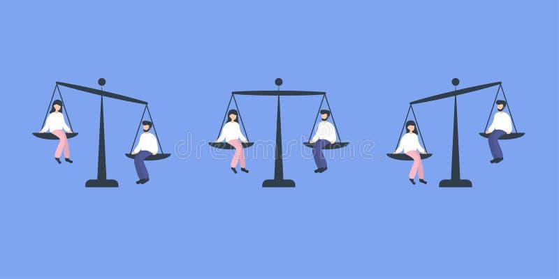 Gendergelijkheidvrouw en man royalty-vrije illustratie
