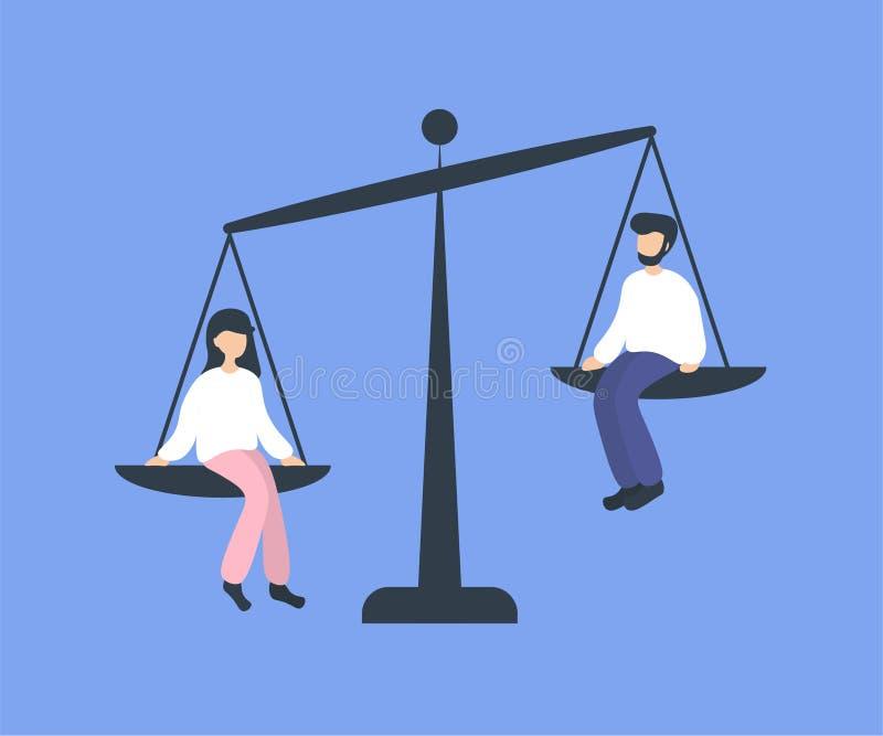 Gendergelijkheidvrouw, wegende schotels van saldo stock illustratie