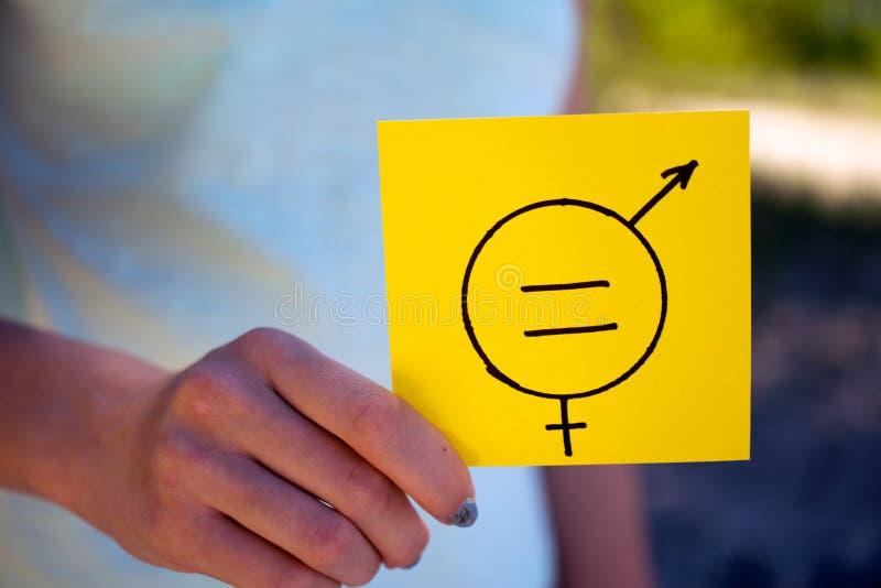 Gendergelijkheidwijfje en een mannelijk symbool stock afbeelding