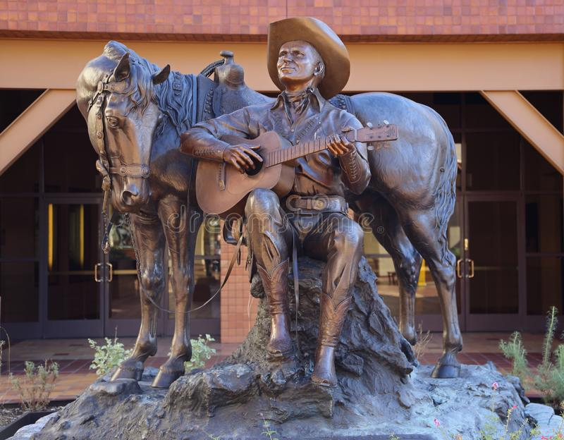 Gene Autry et sa statue de champion du cheval au musée Autry de Los Angeles photographie stock