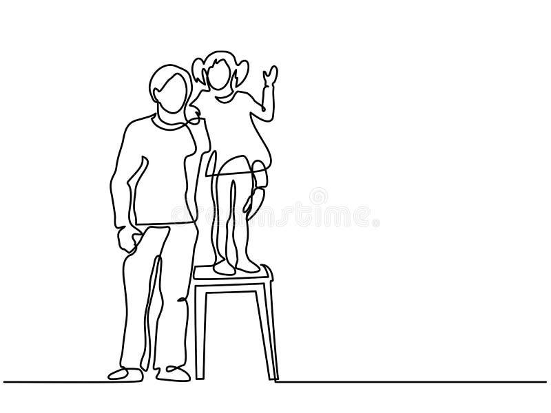 Gene com a filha pequena que está em um tamborete ilustração stock