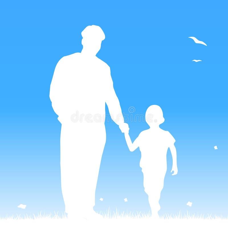 Gene e sua criança à mão ilustração royalty free