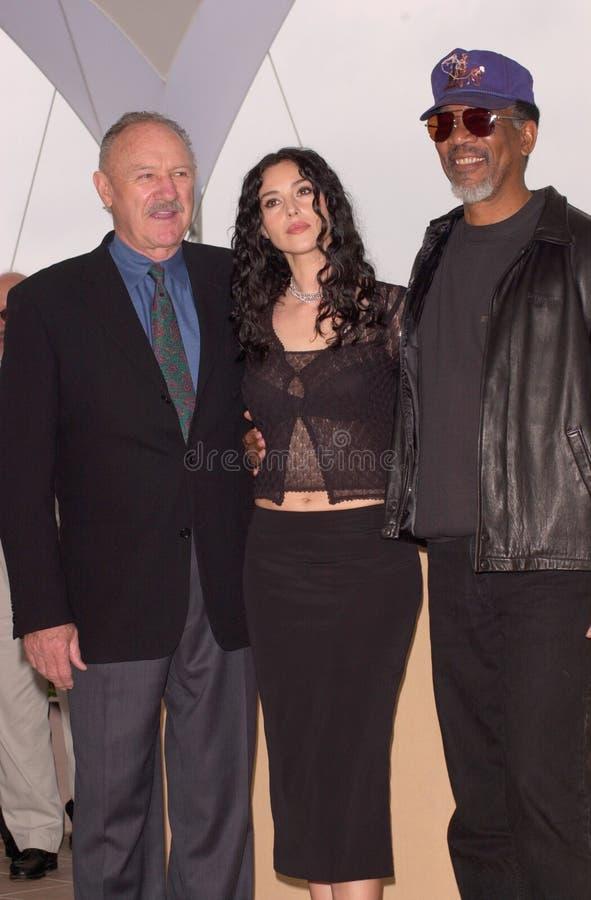 Gene Hackman, Monica Bellucci, Morgan Freeman imagen de archivo