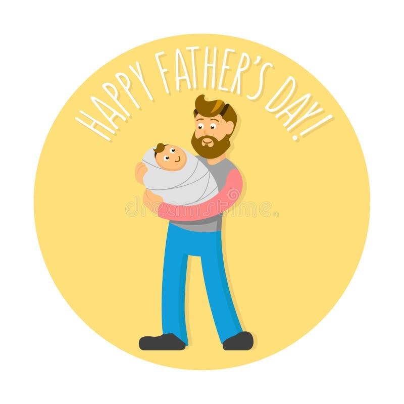 Gene a ilustração do dia de s com o pai farpado do moderno-estilo e o bebê bonito Cartão, cartão, ou cópia do convite ilustração do vetor