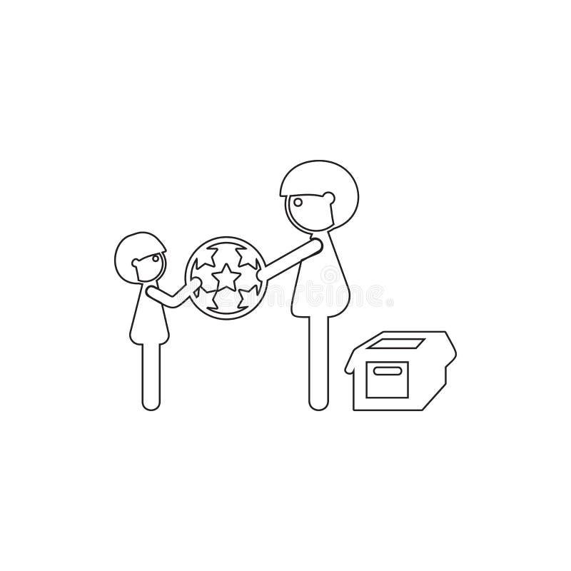 gene jogos com seu filho no ícone da bola Elemento da segurança do cyber para o conceito e o ícone móveis dos apps da Web Linha f ilustração royalty free