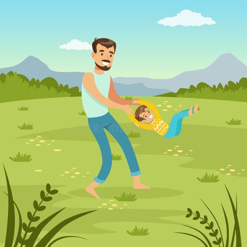 Gene o giro de seu filho no paizinho da natureza e de filho que joga junto no prado, ilustração lisa do vetor do lazer da família ilustração do vetor