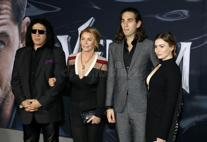 Gene Simmons, Nick Simmons, Shannon Tweed y Sophie Simmons foto de archivo