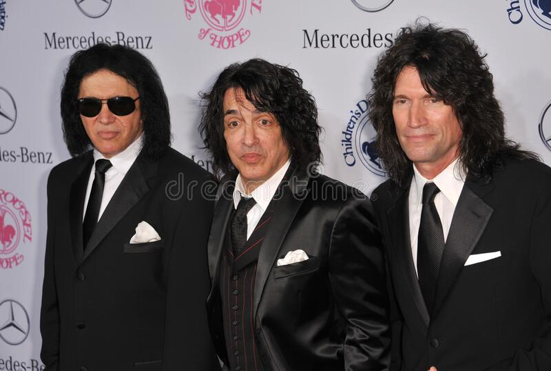 Gene Simmons & Paul Stanley & Tommy Thayer. LOS ANGELES, CA - October 20, 2012: KISS stars Gene Simmons (left), Paul Stanley & Tommy Thayer at the 26th Carousel royalty free stock photo