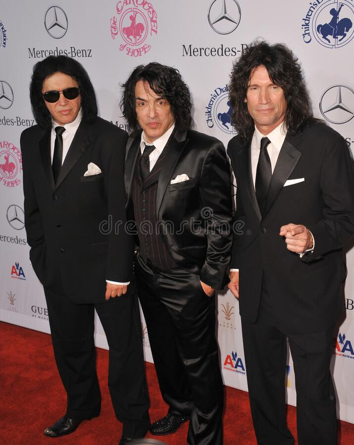Gene Simmons & Paul Stanley & Tommy Thayer. LOS ANGELES, CA - October 20, 2012: KISS stars Gene Simmons (left), Paul Stanley & Tommy Thayer at the 26th Carousel royalty free stock photos