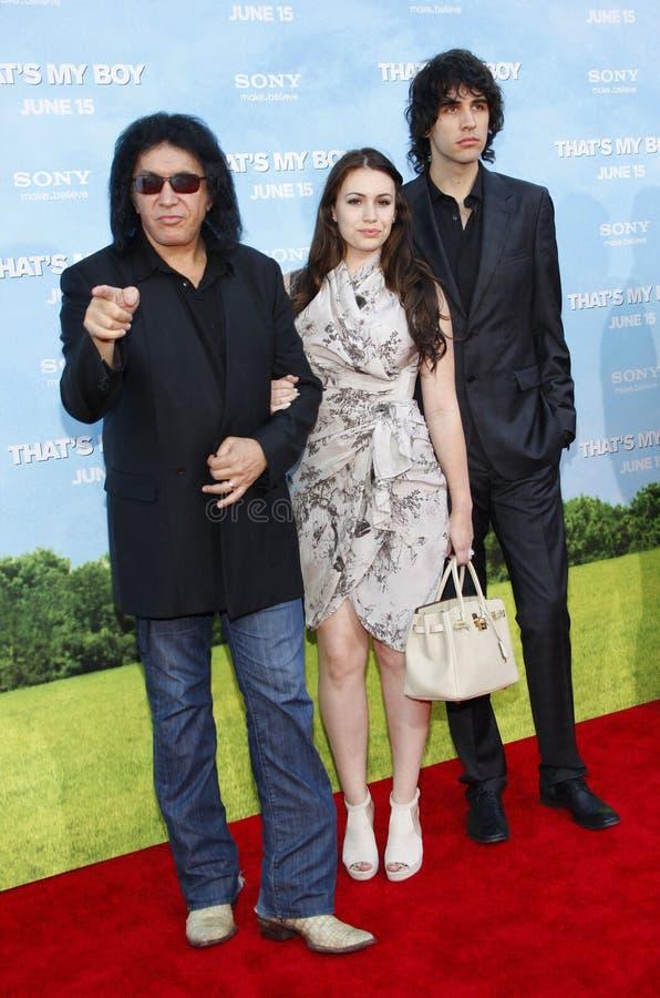 Gene Simmons, Sophie Simmons y Nick Simmons fotografía de archivo libre de regalías