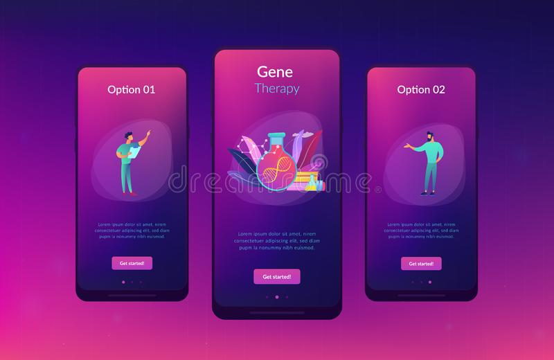Gene therapy app interface template. Scientists in lab working with huge DNA chain in the glass bulb. Gene therapy, gene transfer and functioning gene concept stock illustration