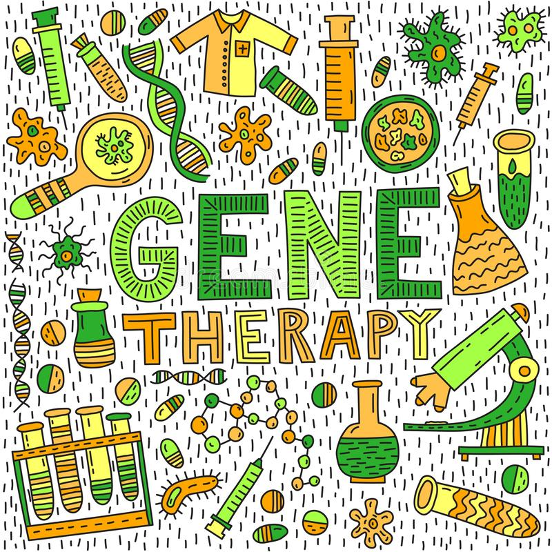 Gene therapy lettering stock image
