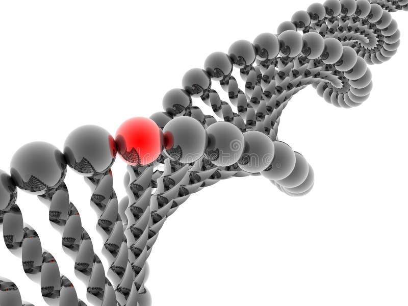 Gene vermelho no ADN ilustração stock