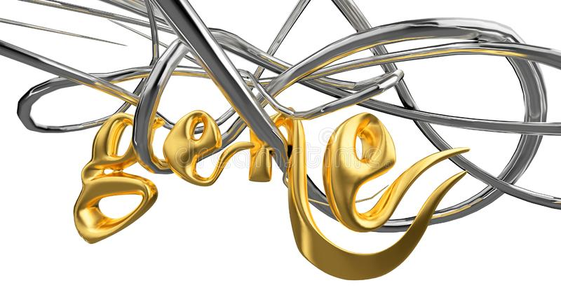 GENE word lettering made with metal steel, platinum silver or gold alphabet hangs on vine over white background 3d royalty free illustration