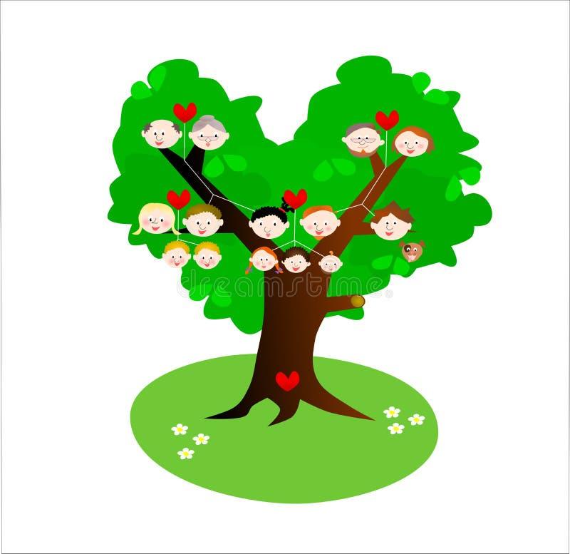 Genealogía: árbol de familia stock de ilustración