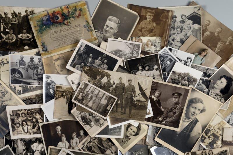 Genealogie - Familiengeschichte - alte Familienfotos lizenzfreies stockbild