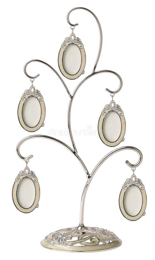 Genealogiskt stamträd för silver med små ovala ramar arkivfoto