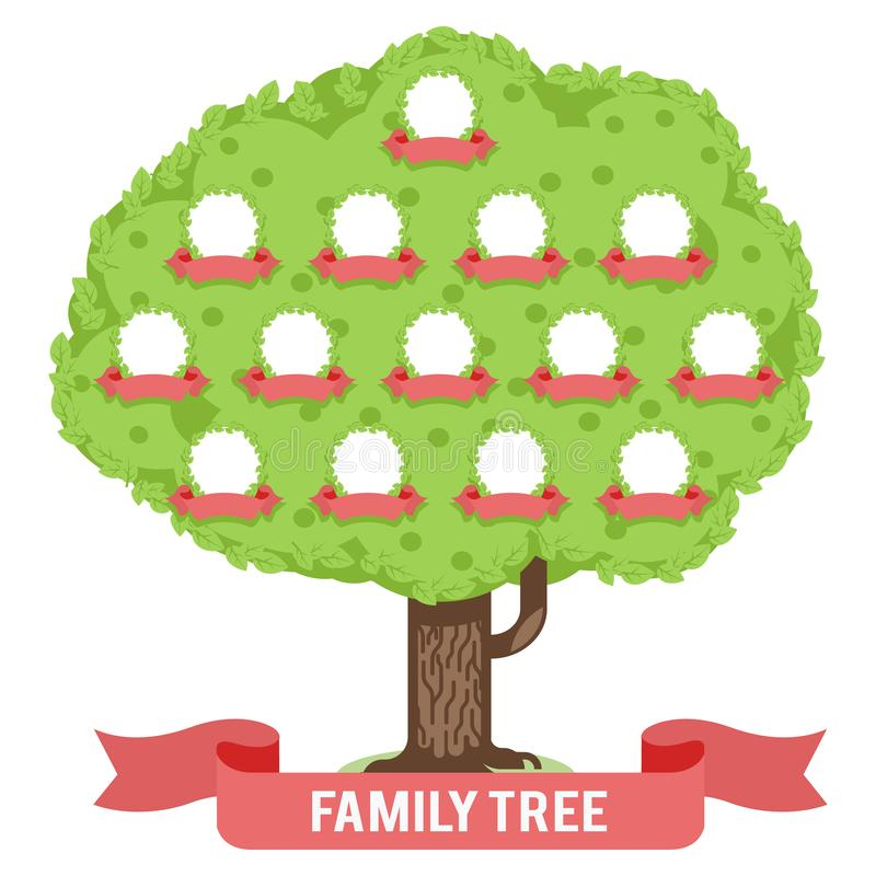 Genealogy family tree son daughter father mother grandfather grandmother parent photo picture frames flat design vector. Genealogy family tree son daughter vector illustration