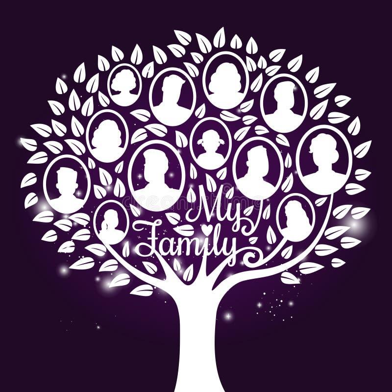 Genealogy tree with shine elements. Vector genealogy tree with shine elements. Genealogical family tree vector illustration royalty free illustration