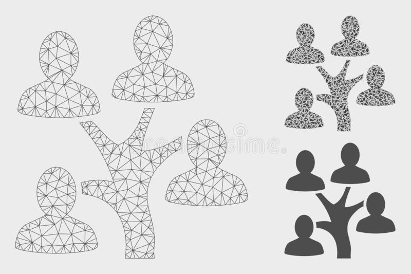 Genealogy Tree Vector Mesh Carcass Model and Triangle Mosaic Icon. Mesh genealogy tree model with triangle mosaic icon. Wire frame triangular mesh of genealogy vector illustration
