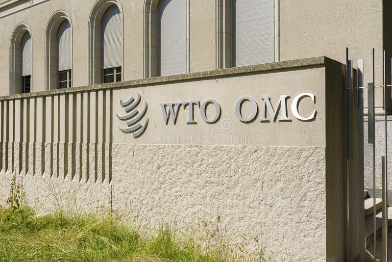 Genebra, Suíça, construção do WTO de Organização Mundial de Comércio fotos de stock royalty free